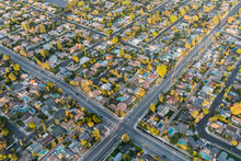 Aerial View Of Streets And Hom...