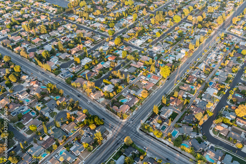Recess Fitting Air photo Aerial view of streets and homes near Lassen St and Winnetka Ave in the San Fernando Valley region of Los Angeles, California.