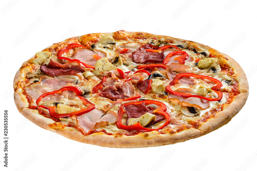 ham and pepper pizza isolated on white