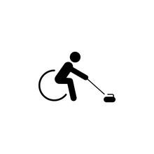 Wheelchair Curling Icon. Element Of Disabled Human In Sport Icon For Mobile Concept And Web Apps. Detailed Wheelchair Curling Icon Can Be Used For Web And Mobile
