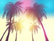 Row of tropic palm trees against sunset sky. Silhouette of tall palm trees. Tropic evening landscape. Gradient color. Vector illustration. EPS 10