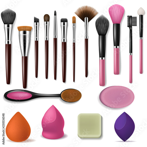 Makeup brush vector professional beauty applicator accessory and fashion brushed Canvas Print