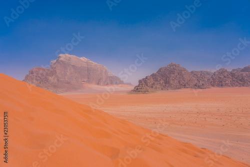 Photo  Sand-dunes in Wadi-Rum desert, Jordan, Middle East