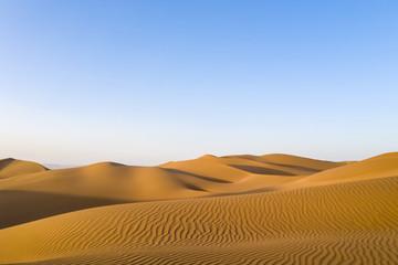 golden sand dunes in sunset