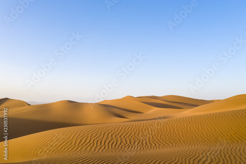 Poster Desert golden sand dunes in sunset