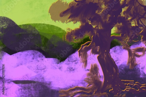 Foto op Aluminium Draken Abstract Landscape with bold colors, forms, tree, mountains, in modern colors