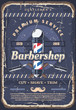 Barbershop pole, barber razor and mustache