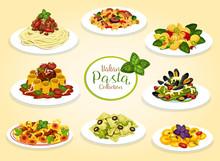 Italian Cuisine Pasta Dishes, Vector