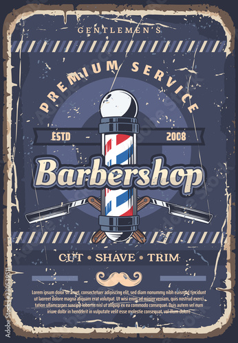 Fototapeta Barbershop pole, barber razor and mustache obraz