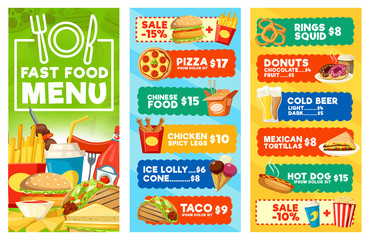 Fototapeta Fast food snacks and drinks menu