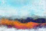 Abstract painterly landscape, imaginative blurred soft focus natural organic forms in hand painted artwork - 230540504