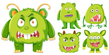 Set Of Green Monster Character