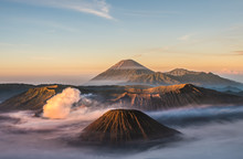 Mount Bromo Volcano (Gunung Bromo), And Batok During Sunrise From Viewpoint On Mount Penanjakan, In East Java, Indonesia. Early Morning.