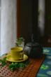 Tea set close to a window