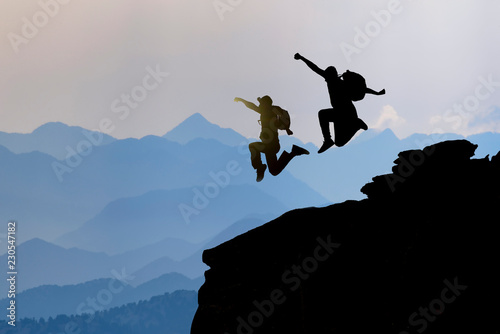 Spoed Fotobehang Alpinisme peak success of crazy, energetic and dynamic climbers