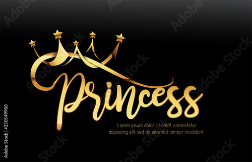 Vector Luxury Sign Gold Crown. Chic Gradient Font. Exclusive princess typo with golden crown and black background.