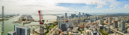 Aerial panorama of an Allegiance construction crane on site Downtown Miami Flori Wallpaper Mural
