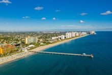 Aerial Photo Deerfield Beach Florida Coastline