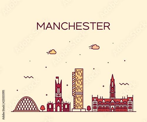 Manchester skyline big city England vector linear Canvas Print
