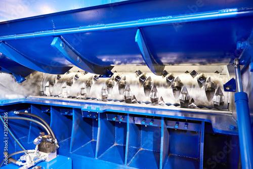 Fototapeta Rotor cutter of industrial shredder for wood