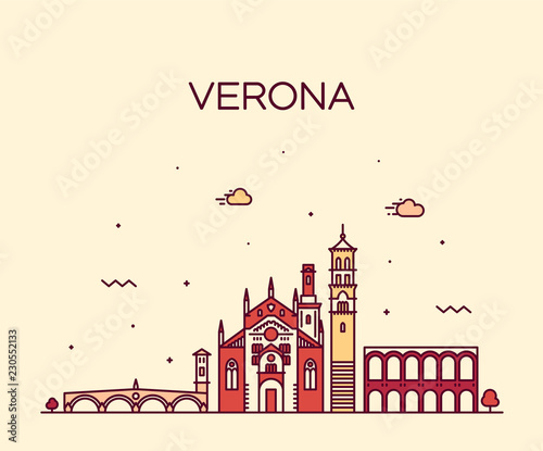 Verona skyline Italy vector linear style city