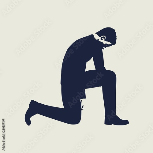 Obraz na plátne Illustration of silhouette of businessman stand to kneel.