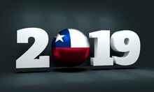 2019 Happy New Year Background For Seasonal Greetings Card Or Christmas Themed Invitations. Flag Of The Chile. 3D Rendering