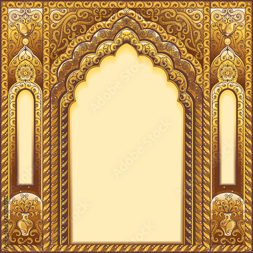 Indian ornamented arch. Color gold Wallpaper Mural