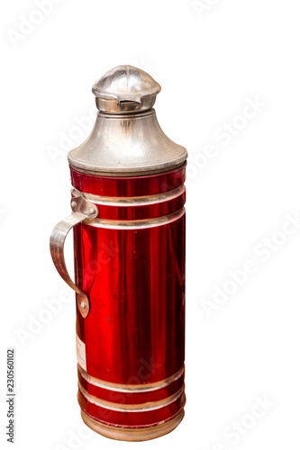 Red Thermos bottle the old heat, white backdrop.