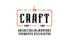 Craft Beer Emblem And Decorative Serif Font In Vintage Style