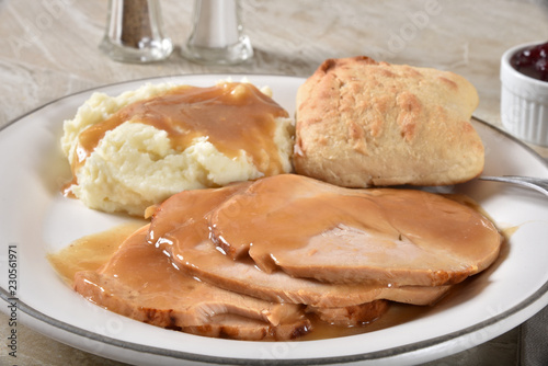 Turkey dinner with mashed potatoes and gravy