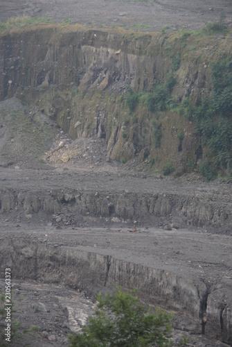 Poster Donkergrijs Mount Merapi devastation impact on its surrounding