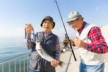 釣りを楽しむシニア男...