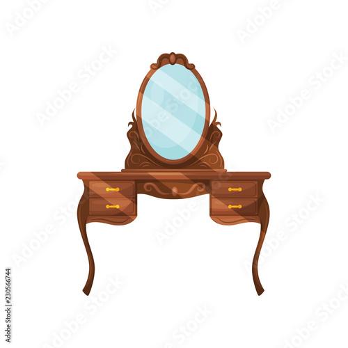 Fotografia, Obraz Dresser with oval mirror and shelves