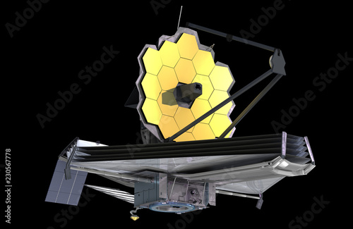The James Webb Space Telescope (JWST or Webb), 3d illustration, elements of this image are furnished by NASA