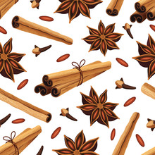 Seamless Pattern With Cinnamon...