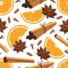 Seamless Pattern With Anise Stars, Oranges, Cinnamon Sticks