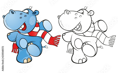Staande foto Babykamer Illustration of a Cute Little Hippo Cartoon Character. Coloring Book