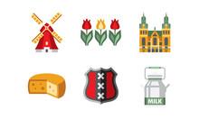 Netherlands Travel Icons Set, Holland National Symbols And Landmarks Vector Illustration On A White Background