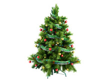 Christmas Tree With Colorful Toys 3d Render Isolated On White No Shadow