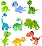 Fototapeta Dinusie - Cartoon dinosaurs collection set