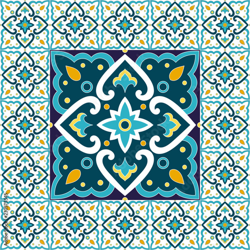 Foto  Spanish tile pattern floor vector with mosaic print