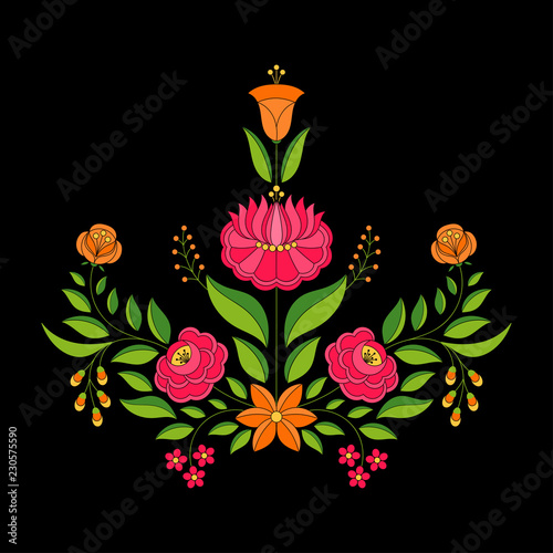Foto auf AluDibond Boho-Stil Hungarian folk pattern vector. Kalocsa floral ethnic ornament. Slavic eastern european print on black background. Vintage flower design for holiday party cards, wedding invitation, tag and label.