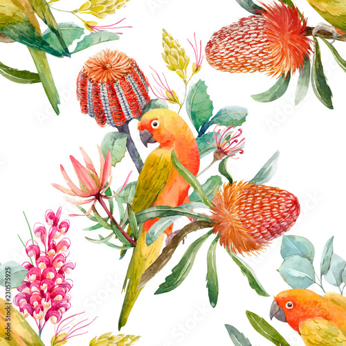 Fotobehang Papegaai Watercolor tropical parrots vector pattern
