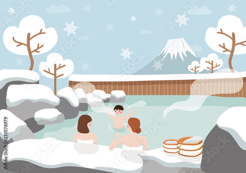 Printed kitchen splashbacks Light blue Women and kid are relaxing In hot spring, bath at Japanese on winter.