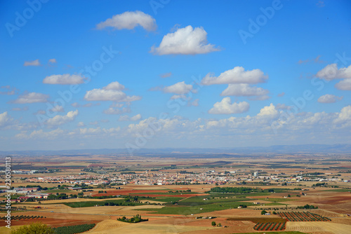 Almagro, Spain - October 9, 2018: Exterior view of the town of Almagro on a sunny day and cloud clusters.