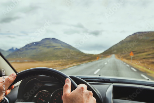 Canvas Print travel, driving car on a beautiful scenic road in Iceland