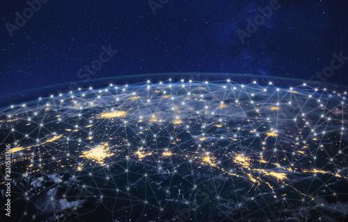 information technology and telecommunication, global network concept, planet Ear Fototapet