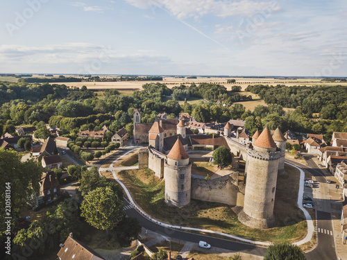Spoed Foto op Canvas Historisch geb. Castle Blandy les tours in France, aerial view of medieval chateau museum