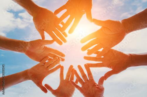global community of people, support, group of volunteers gathering hands togethe Slika na platnu